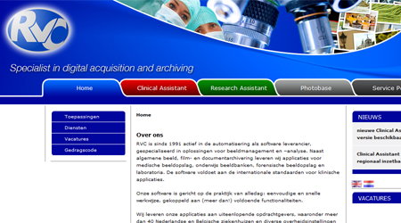 Screenshot van de RVC website