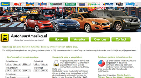 Screenshot van de AutohuurAmerika website