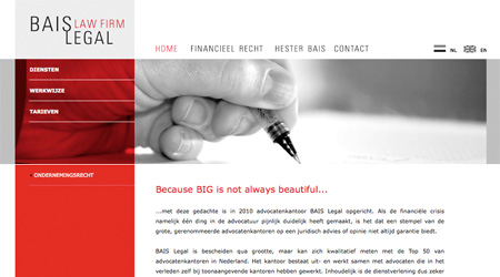 Screenshot van de Baislegal website