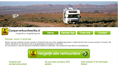 Screenshot van de CamperverhuurAmerika website