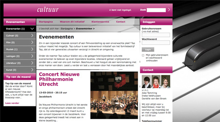 Screenshot van de cultuur website