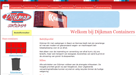 Screenshot van de Dijkman containers website