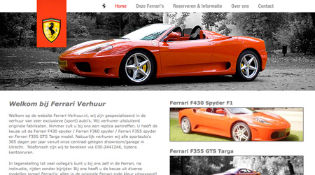 Screenshot van de Ferrari-verhuur website