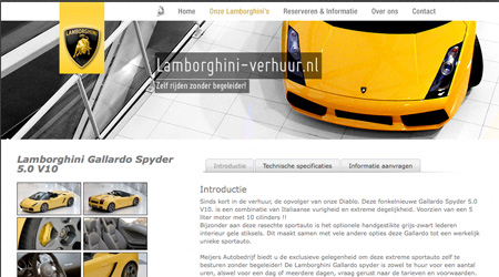 Screenshot van de Lamborghini-verhuur website