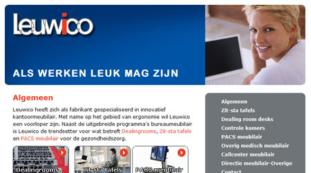 Screenshot van de Leuwico website