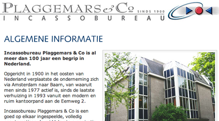 Screenshot van de Plaggemars website