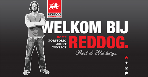 Screenshot van de Red Dog Design website