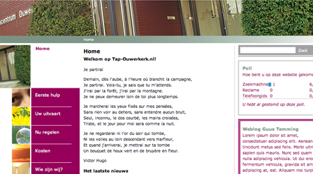 Screenshot van de Tap Uitvaart website