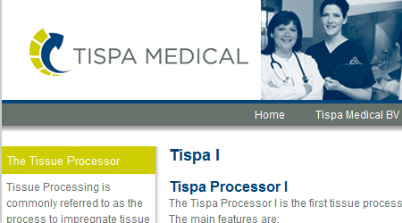 Screenshot van de Tispa medical website